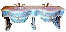 Vintage Custom-Designed French Louis Xvi Style Double Vanity Granite Top Sink