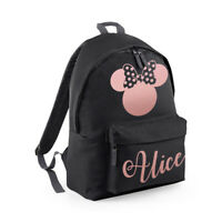 Personalised Kids Mouse Girls Backpack Name Rose Gold Back To School Bag CBPMM