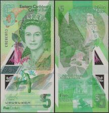 EAST CARIBBEAN 5 DOLLARS 2019 PNEW B240 POLYMER QE II UNC BANKNOTE @ EBS