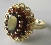Vintage 9ct yelow gold multi garnet oval cluster ring size I 1/2