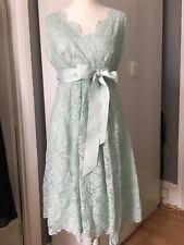 Vestido de Boda de Encaje bridemaid verde claro con arco Talla 14