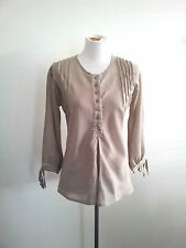 Body size S brown & white striped top with round neck and three-quarter sleeves