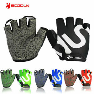 Boodun Fingerless Cycling Gloves Gel Padded Bike Cycle Racing Gloves Half Finger