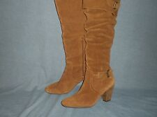 "Baker Brown Cow suede Leather 16"" WILD CALF  20"" KNEE HIGH Boots Size 8.5"