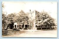 Manistee, MI - CHIPPEWA HOTEL STREET VIEW & OLD CARS - RPPC