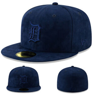 New Era Detroit Tigers 5950 Fitted Hat MLB Team Navy Blue Suede Cap