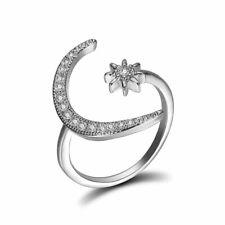 Adjustable Crescent Moon Star Ring Crystal Rhinestone Band Women Fashion Jewelry
