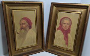 Vintage 1940s Framed Prints Old Man & Old Woman Of Capri Reliable of Newark NJ