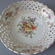 "Antique MEISSEN HP Reticulated Porcelain 6"" Shallow Bowl DRESDEN FLOWERS w GILT"