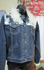 Women's Denim, Rhinestone, Turquoise cross, with Cowhide yoke Jacket, M