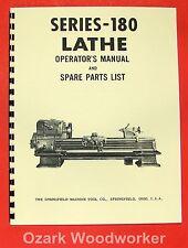 SPRINGFIELD 180 Series Metal Lathe Operator & Parts Manual 0703