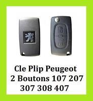 CLE CLEF VOITURE PLIP COQUE NEUF PEUGEOT 2 BOUTONS 107 207 307 308 407 GRATUIT