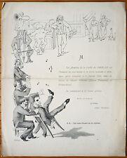Invitation menu illustré de la société du GRELOT 1884 gravure Grand VÉFOUR