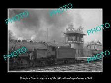 OLD HISTORIC PHOTO OF CRANFORD NEW JERSEY, THE XC RAILROAD SIGNAL TOWER c1940