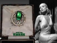 VINTAGE ART DECO 1930s SIGNED CZECH VAUXHALL GLASS EMERALD RHINESTONE DRESS CLIP