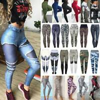 Womens Ladies Yoga Pants Fitness Leggings Workout Running Gym Sports Trousers