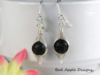 925 STERLING SILVER Artisan Wire Wrapped Black LAVA STONE LEVERBACK Earrings