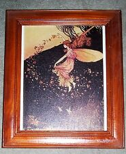 IDA RENTOUL OUTHWAITE Fairy Print Canvas in Wooden Frame Fairy Dancing in Leaves