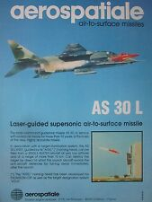 12/1982 PUB AEROSPATIALE ENGIN TACTIQUE JAGUAR AS 30 LASER MISSILE ORIGINAL AD