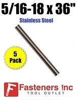 "(Qty 5 Sticks) 5/16-18 x 36"" Stainless Steel Threaded Rod 304 Stainless"