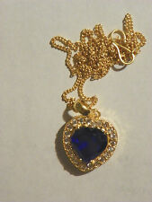 Blue Sapphire Heart Pendant Necklace 4 CT 18 KT Gold Over 925 Sterling Silver