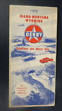 1953 Idaho Montana Wyoming  road  map Derby oil  gas