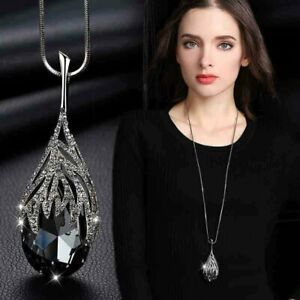 Women Fashion Necklace Glossy Pendant Chain Womens Crystal Jewelry Accessories