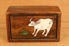 Asian old wood hand carving ox statue inlay conch  box  secret  button open