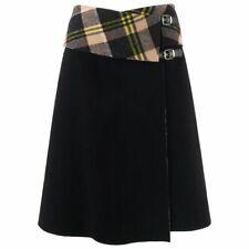 "ALEXANDER McQUEEN A/W 2000 ""Eshu"" Black & Plaid Boiled Wool Fold Top Wrap Skirt"