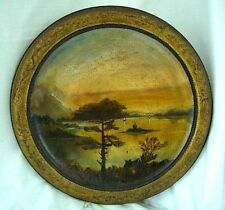 Vintage Wooden Plaque Hanging Hand Painted Oils Lake & Mountain Scene 34 cms Dia