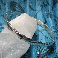 """Vintage Twisted Sterling Silver Hammered Taxco Bangle Bracelet Large 8 3/4"""""""