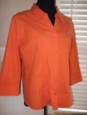 Mt Lake,Top,Shirt,Orange, Button Front,Tennessee Fan Hit /Stretch,3/4 Sleeve, L