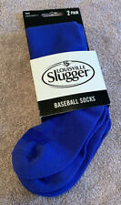 NEW UNOPENED Louisville Slugger 2 Pair 9-11 Blue Youth Baseball Socks (ss)(B10A)