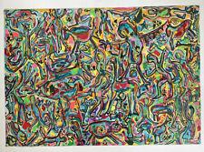 Tableau Art Moderne Art Brut Composition aux Personnages Peinture 70's Anonyme