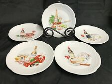 """Set of 5 ~  L. LOURIOUX Porcelaine France ~ Appetizer /  Dessert Plates ~ 5 3/4"""""""