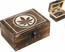 CARVED MANGO WOODEN BOX WITH MARIJUANA LEAF ON THE LID