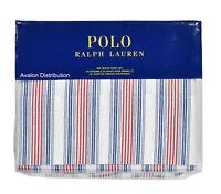 Polo Ralph Lauren Navy Red Striped Cotton 4 PC Queen Sheet Set New