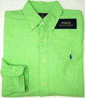 NEW $98 Polo Ralph Lauren Green Shirt Mens Classic Fit Cotton Long Sleeve NWT