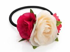 Fuchsia Cream Red Flower Hairband Bobble