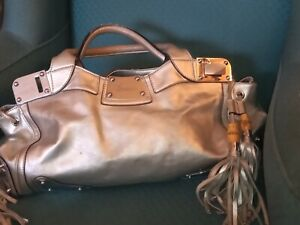 Gucci Silver Leather Bag