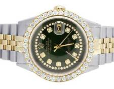 Mens Rolex 18K/ Steel Two Tone Datejust 36MM Green Dial Diamond Watch 5.0 Ct