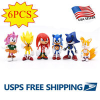 6PCS/Set Sonic The Hedgehog Action Figure Toy Collection Kid Gift Toy USA SELLER