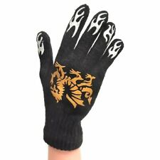Knitted Gloves Black With Gold Dragon - Winter One Size Fits All
