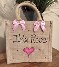 Personalised Glitter Jute Bag Gift Birthday Christmas Stocking Filler