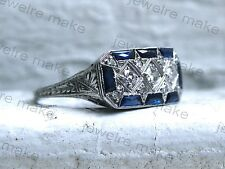 White & Blue Diamond Vintage Three Stone Engagement Wedding Art Deco Silver Ring