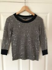 J. Crew Gray & Navy Blue Wool Blend Sequined Sweater, Size XXS