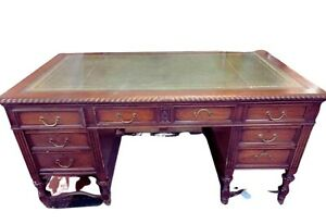 Antique Desk, Leather Top, Mahogany Hobbs & CO Lawyers Desk, Carved, Early 1900s