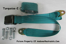 Chrome Lift Latch Lap Seatbelt Seat Belts(2) + Mounting Hardware, Turquoise, 74""