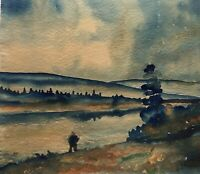 Aquarell K. Prestrud Landschaft mit Figur Expressiv Schweden Norge ? 34 x 38 cm