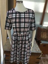 NWT ASOS Maternity Black White Pink Plaid Stretch Dress Open Back US 16